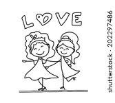 hand drawing cartoon concept... | Shutterstock .eps vector #202297486