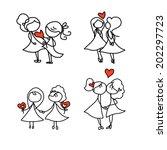 hand drawing cartoon concept... | Shutterstock .eps vector #202297723