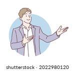 businessman showing something...   Shutterstock .eps vector #2022980120