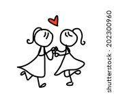 hand drawing cartoon concept... | Shutterstock .eps vector #202300960