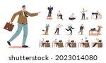 set of cartoon man office...   Shutterstock .eps vector #2023014080