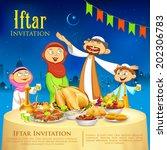 illustration of muslim family...   Shutterstock .eps vector #202306783