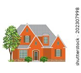 brick family house  and tree on ...   Shutterstock .eps vector #202307998