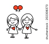 hand drawing cartoon concept... | Shutterstock .eps vector #202308373