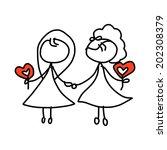 hand drawing cartoon concept... | Shutterstock .eps vector #202308379