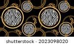 seamless golden baroque chains... | Shutterstock .eps vector #2023098020