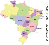 brazil administrative map with... | Shutterstock .eps vector #2023128473