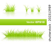 set of green grass isolated on... | Shutterstock .eps vector #202313989