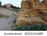 Straw Bales Stacked On The...