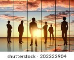 silhouettes of businesspeople... | Shutterstock . vector #202323904