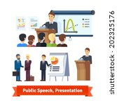 businessman doing presentation... | Shutterstock .eps vector #202325176