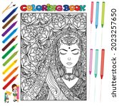 pretty girl coloring book for... | Shutterstock .eps vector #2023257650
