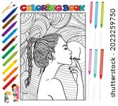 pretty girls coloring book for... | Shutterstock .eps vector #2023259750