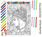 pretty girls coloring book for... | Shutterstock .eps vector #2023259753