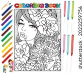 pretty girls coloring book for... | Shutterstock .eps vector #2023259756