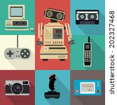 vintage flat vector electronic... | Shutterstock .eps vector #202327468