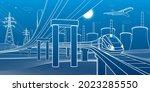 outline road bridge. car...   Shutterstock .eps vector #2023285550