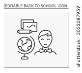 geography line icon. schoolboy... | Shutterstock .eps vector #2023287959