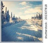 Snowmobile Trail In Winter  ...