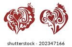 red hearts with a butterfly | Shutterstock .eps vector #202347166