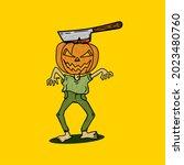 pumpkin head zombie...   Shutterstock .eps vector #2023480760