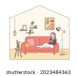 modern living room interior. a...   Shutterstock .eps vector #2023484363