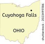 cuyahoga falls city location on ... | Shutterstock .eps vector #2023495586