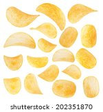 potato chips close up isolated...   Shutterstock . vector #202351870