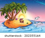 illustration treasure island at ... | Shutterstock . vector #202355164