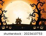 halloween smiling pumpkin faces ... | Shutterstock .eps vector #2023610753