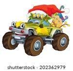 Cartoon Christmas Car  ...