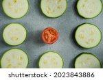 Slices Of Freshly Cut Zucchini...