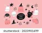happy halloween cute vector set ... | Shutterstock .eps vector #2023901699