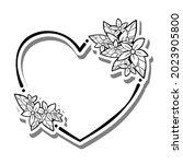 monochrome flowers leaves heart ... | Shutterstock .eps vector #2023905800