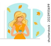 a girl stands at the window and ... | Shutterstock .eps vector #2023955699