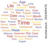 Concept word cloud for time tags, vector.