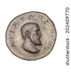 Small photo of Greek Novelist Aeschylus on Ancient Bronze Medal