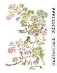 birds on spring tree twigs... | Shutterstock . vector #202411666