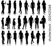 black silhouettes of beautiful... | Shutterstock . vector #202425268