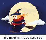 a cute smiling chubby witch...   Shutterstock .eps vector #2024257613