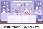 flat chemical lab room interior ... | Shutterstock .eps vector #2024269196