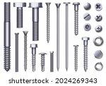 realistic metal bolts  steel... | Shutterstock .eps vector #2024269343