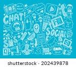 doodle communication background | Shutterstock .eps vector #202439878