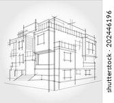 3d rendering wire frame of... | Shutterstock .eps vector #202446196