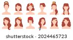 flat woman hairstyles with... | Shutterstock .eps vector #2024465723