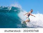 surfing a wave. lombok island.... | Shutterstock . vector #202450768