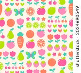 cute floral and fruit grid... | Shutterstock .eps vector #2024690549