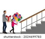 male character with a gift box... | Shutterstock .eps vector #2024699783