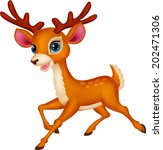 cute deer cartoon running | Shutterstock . vector #202471306