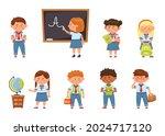 cartoon school kids in uniform  ... | Shutterstock .eps vector #2024717120